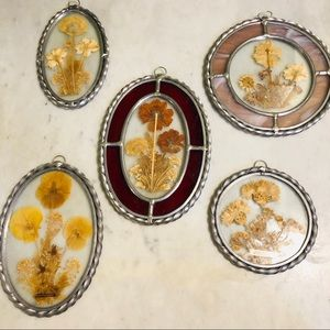 Vintage Stained Glass Pressed Flowers Wall Art